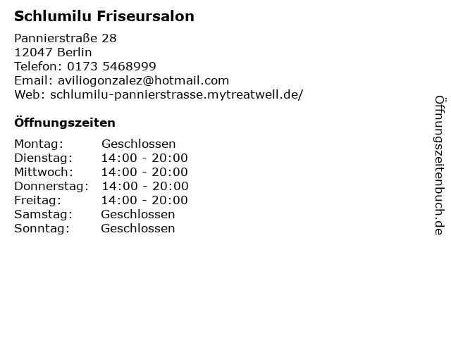 Schlumilu Friseursalon in Berlin: Adresse und Öffnungszeiten