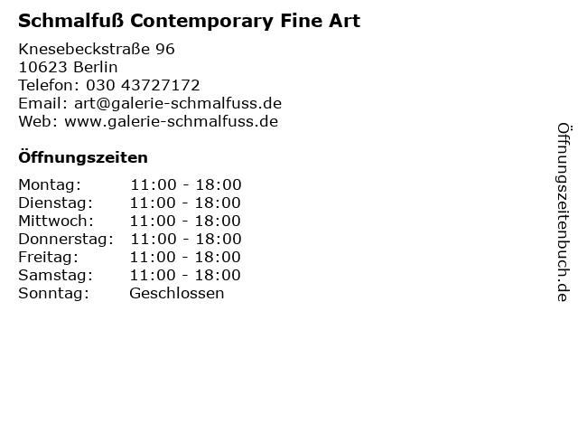 Schmalfuß Contemporary Fine Art in Berlin: Adresse und Öffnungszeiten