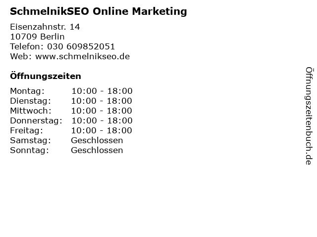 SchmelnikSEO Online Marketing in Berlin: Adresse und Öffnungszeiten