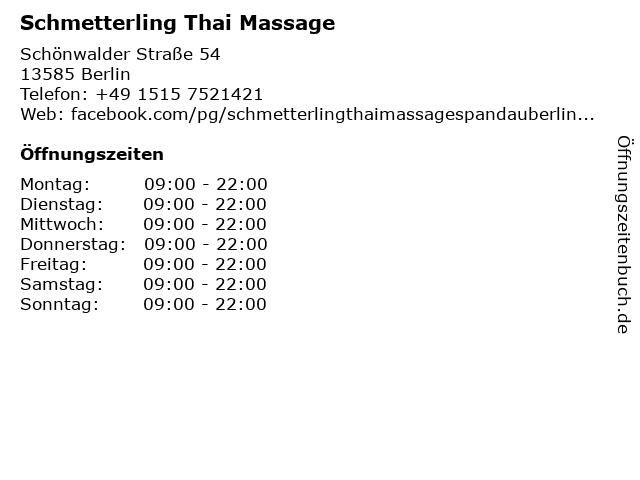 Schmetterling Thai Massage in Berlin: Adresse und Öffnungszeiten