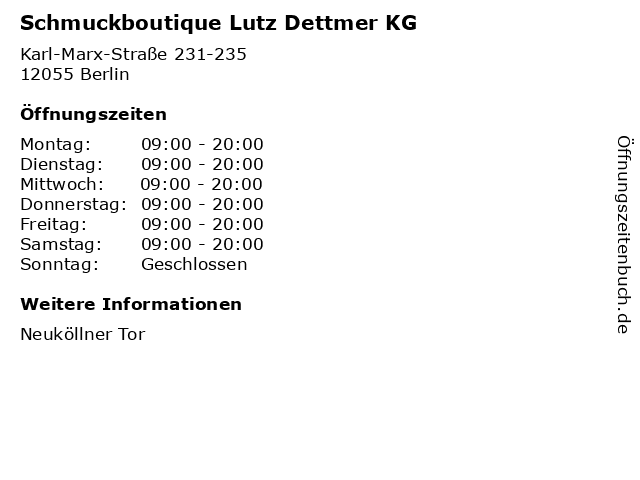 Schmuckboutique Lutz Dettmer KG in Berlin: Adresse und Öffnungszeiten