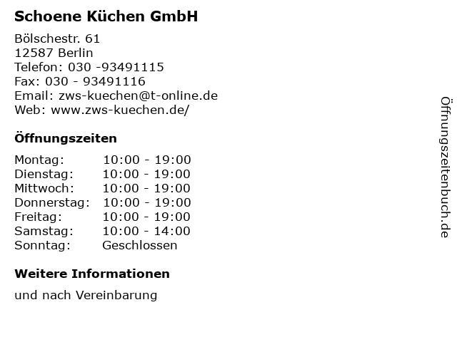 ᐅ Offnungszeiten Schoene Kuchen Gmbh Bolschestr 61 In Berlin