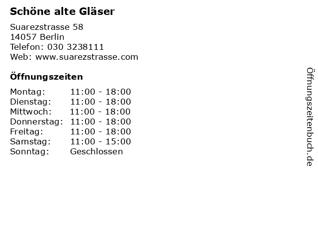 Schöne alte Gläser in Berlin: Adresse und Öffnungszeiten
