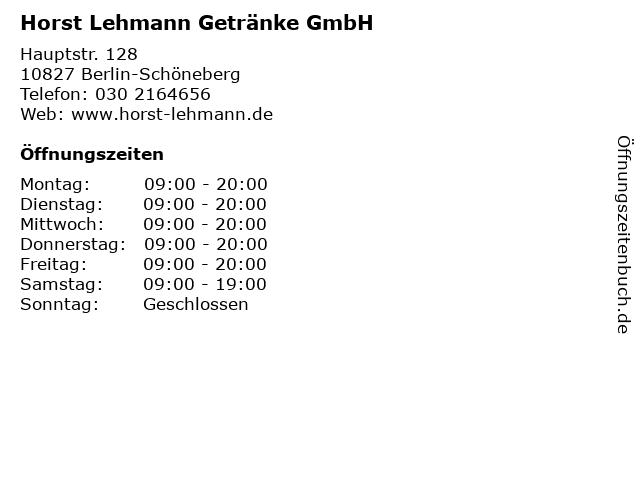 Horst Lehmann Getränke GmbH in Berlin-Schöneberg: Adresse und Öffnungszeiten