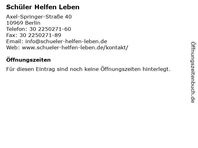 Schüler Helfen Leben in Berlin: Adresse und Öffnungszeiten