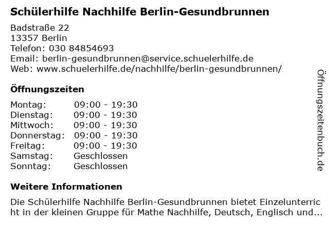 Schülerhilfe Nachhilfe Berlin-Gesundbrunnen in Berlin: Adresse und Öffnungszeiten