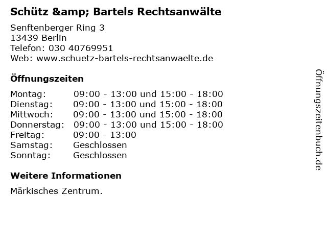 Schütz & Bartels Rechtsanwälte in Berlin: Adresse und Öffnungszeiten