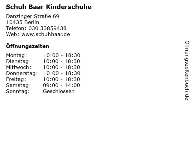 Schuh Baar Kinderschuhe in Berlin: Adresse und Öffnungszeiten