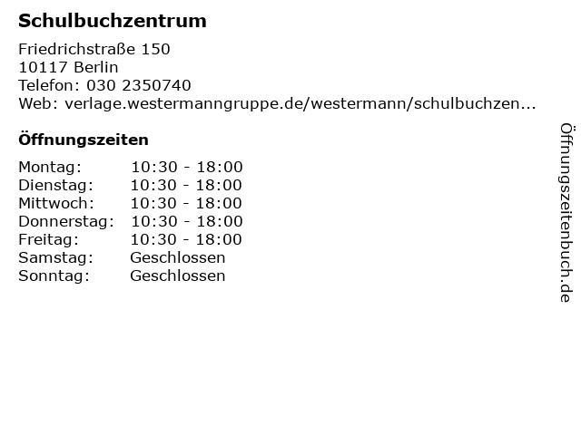 Schulbuchzentrum in Berlin: Adresse und Öffnungszeiten