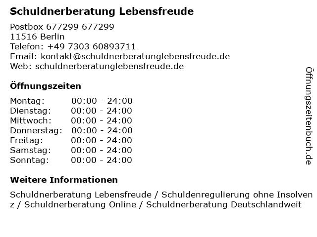 Schuldnerberatung Lebensfreude in Berlin: Adresse und Öffnungszeiten