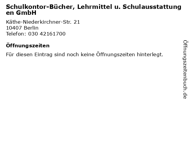 Schulkontor-Bücher, Lehrmittel u. Schulausstattungen GmbH in Berlin: Adresse und Öffnungszeiten