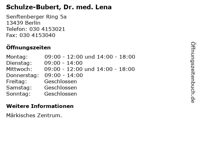 Schulze-Bubert, Dr. med. Lena in Berlin: Adresse und Öffnungszeiten