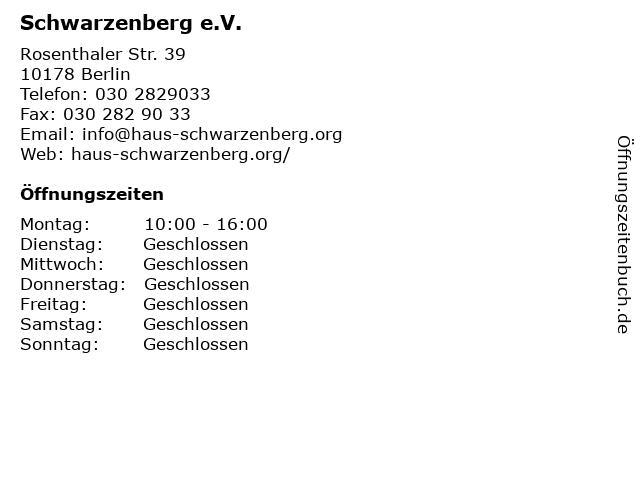 Schwarzenberg e.V. in Berlin: Adresse und Öffnungszeiten