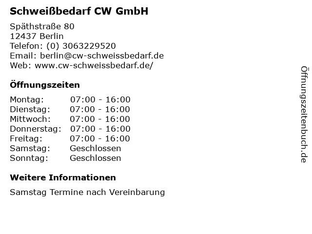 Schweißbedarf CW GmbH in Berlin: Adresse und Öffnungszeiten