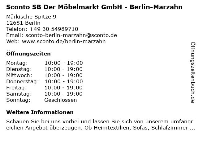"""6ef191d73c10a1 ᐅ Öffnungszeiten """"Sconto SB Der Möbelmarkt GmbH - Berlin-Marzahn ..."""