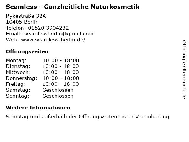 Seamless - Ganzheitliche Naturkosmetik in Berlin: Adresse und Öffnungszeiten