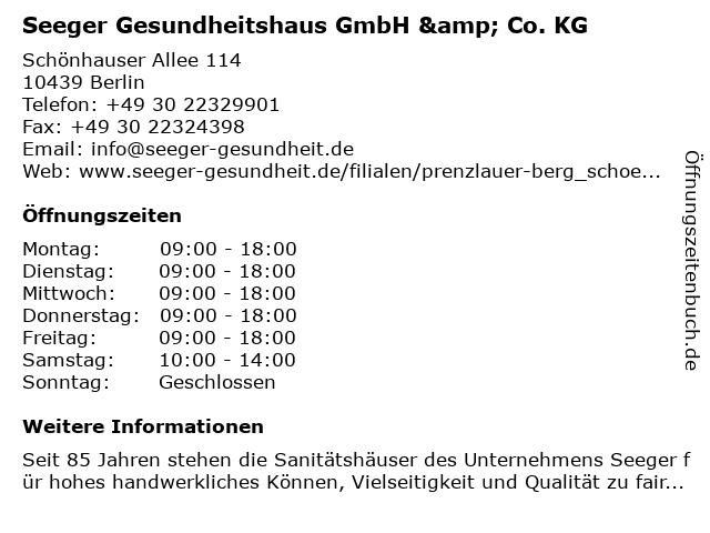 Sanitätshaus Seeger hilft GmbH & Co. KG in Berlin: Adresse und Öffnungszeiten