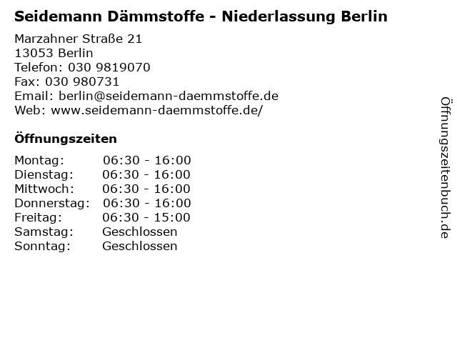 Seidemann Dämmstoffe - Niederlassung Berlin in Berlin: Adresse und Öffnungszeiten