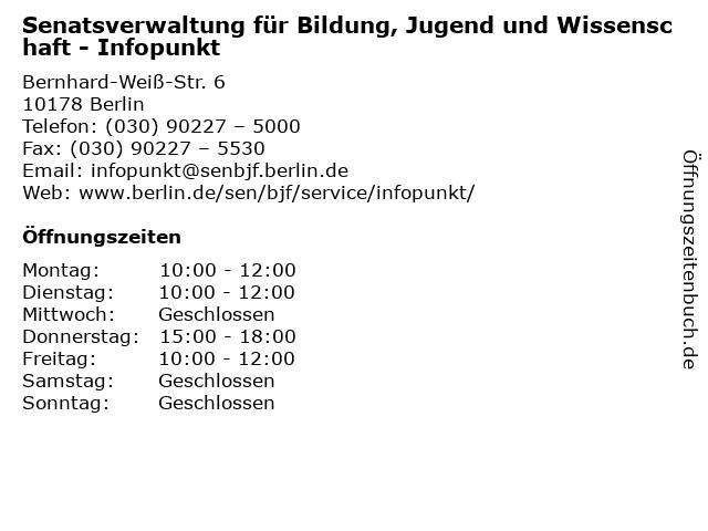 Senatsverwaltung für Bildung, Jugend und Wissenschaft - Infopunkt in Berlin: Adresse und Öffnungszeiten