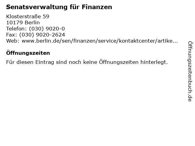 Senatsverwaltung für Finanzen in Berlin: Adresse und Öffnungszeiten