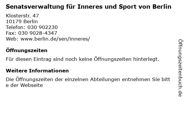 Senatsverwaltung für Inneres und Sport von Berlin in Berlin: Adresse und Öffnungszeiten