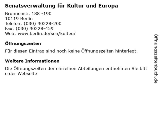 Senatsverwaltung für Kultur und Europa in Berlin: Adresse und Öffnungszeiten