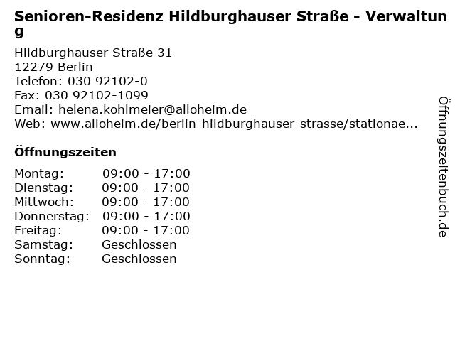 Senioren-Residenz Hildburghauser Straße - Verwaltung in Berlin: Adresse und Öffnungszeiten