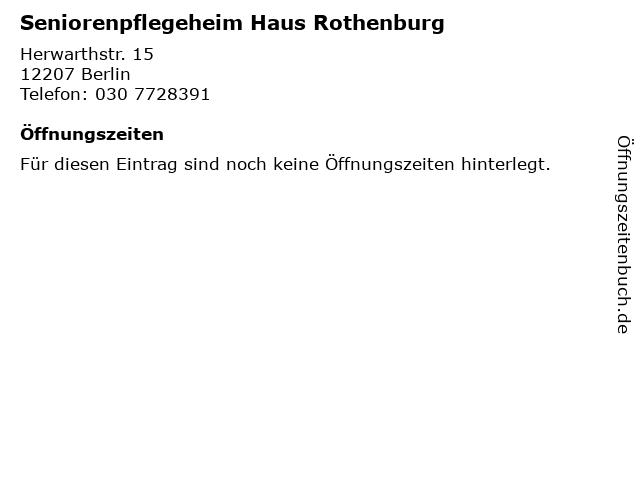 Seniorenpflegeheim Haus Rothenburg in Berlin: Adresse und Öffnungszeiten