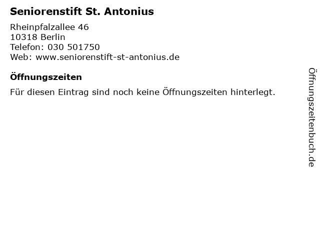 Seniorenstift St. Antonius in Berlin: Adresse und Öffnungszeiten