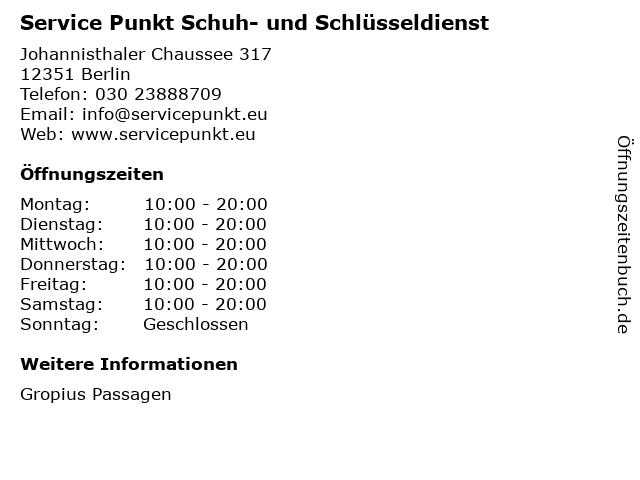 Service Punkt Schuh- und Schlüsseldienst in Berlin: Adresse und Öffnungszeiten