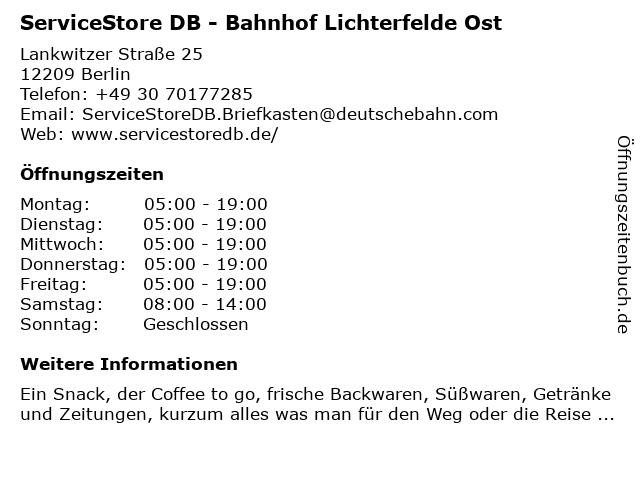 ServiceStore DB - Bahnhof Lichterfelde Ost in Berlin: Adresse und Öffnungszeiten