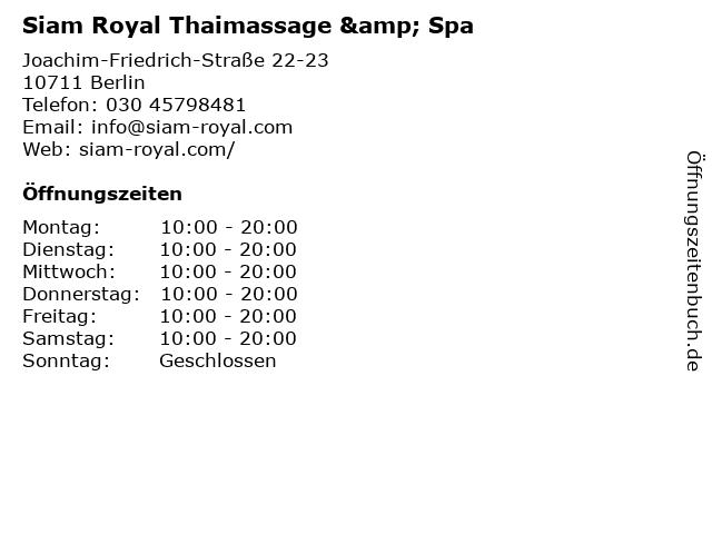 Siam Royal Thaimassage & Spa in Berlin: Adresse und Öffnungszeiten