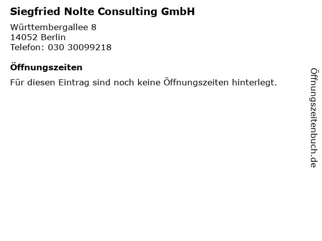 Siegfried Nolte Consulting GmbH in Berlin: Adresse und Öffnungszeiten