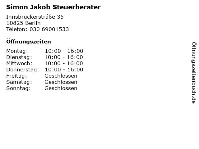 Simon Jakob Steuerberater in Berlin: Adresse und Öffnungszeiten