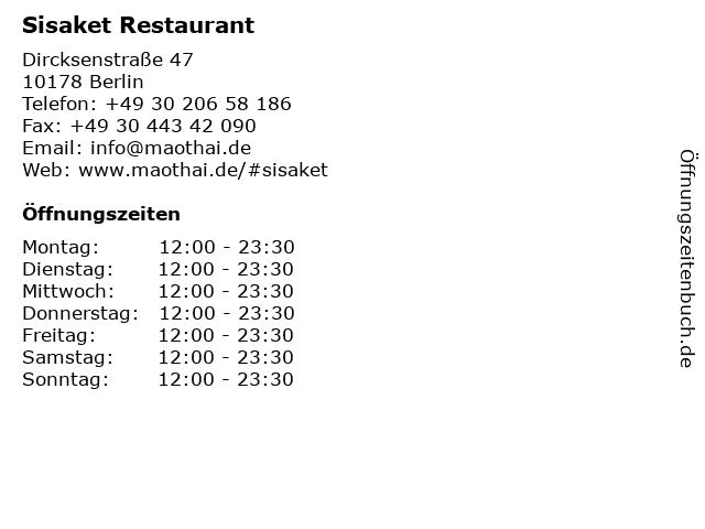 Sisaket Restaurant in Berlin: Adresse und Öffnungszeiten