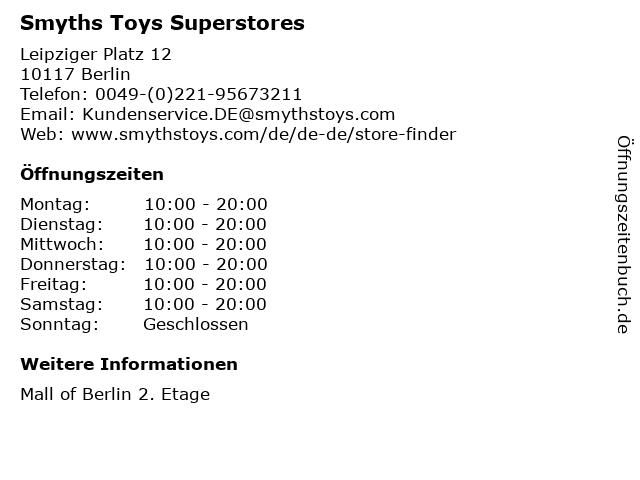 Smyths Toys Superstores in Berlin: Adresse und Öffnungszeiten