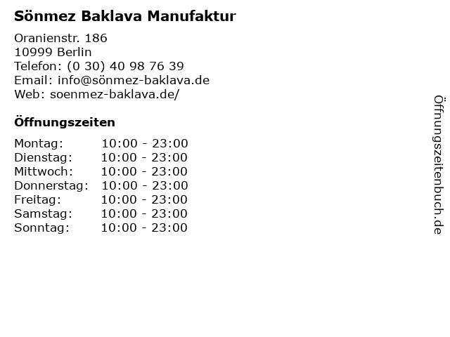 Sönmez Baklava Manufaktur in Berlin: Adresse und Öffnungszeiten