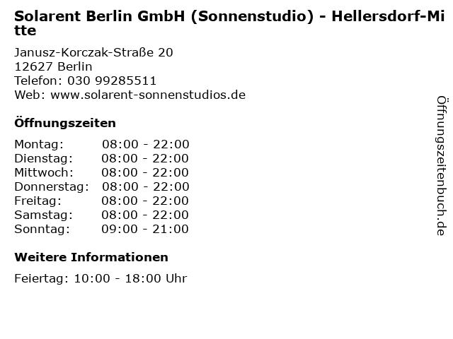 Solarent Berlin GmbH (Sonnenstudio) - Hellersdorf-Mitte in Berlin: Adresse und Öffnungszeiten
