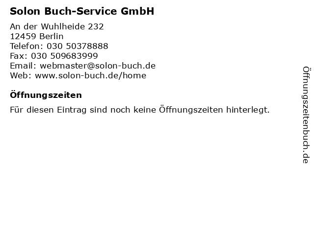 Solon Buch-Service GmbH in Berlin: Adresse und Öffnungszeiten