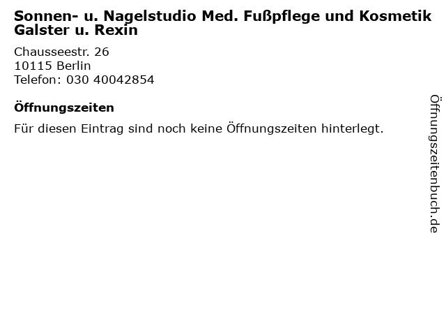 Sonnen- u. Nagelstudio Med. Fußpflege und Kosmetik Galster u. Rexin in Berlin: Adresse und Öffnungszeiten
