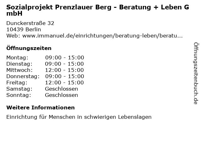 Sozialprojekt Prenzlauer Berg - Beratung + Leben GmbH in Berlin: Adresse und Öffnungszeiten