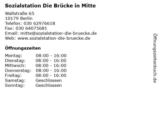 Sozialstation Die Brücke in Mitte in Berlin: Adresse und Öffnungszeiten