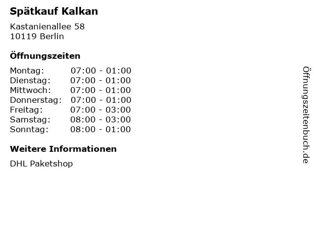Spätkauf Kalkan in Berlin: Adresse und Öffnungszeiten