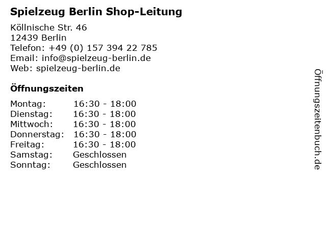Spielzeug Berlin Shop-Leitung in Berlin: Adresse und Öffnungszeiten