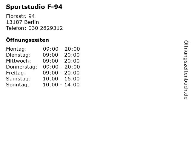 Sportstudio F-94 in Berlin: Adresse und Öffnungszeiten