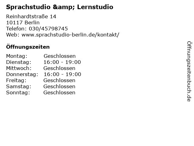 Sprachstudio & Lernstudio in Berlin: Adresse und Öffnungszeiten