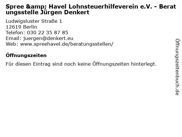 Spree & Havel Lohnsteuerhilfeverein e.V. - Beratungsstelle Jürgen Denkert in Berlin: Adresse und Öffnungszeiten