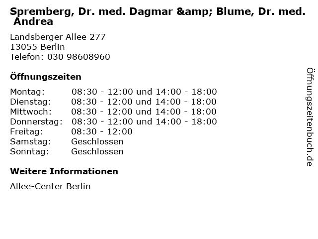 Spremberg, Dr. med. Dagmar & Blume, Dr. med. Andrea in Berlin: Adresse und Öffnungszeiten