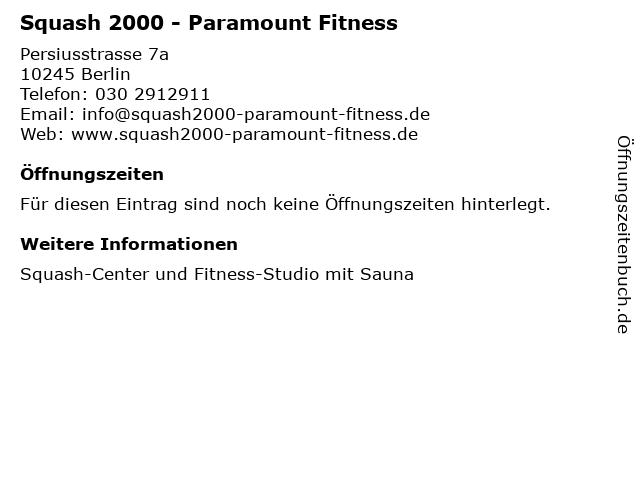 Squash 2000 - Paramount Fitness in Berlin: Adresse und Öffnungszeiten
