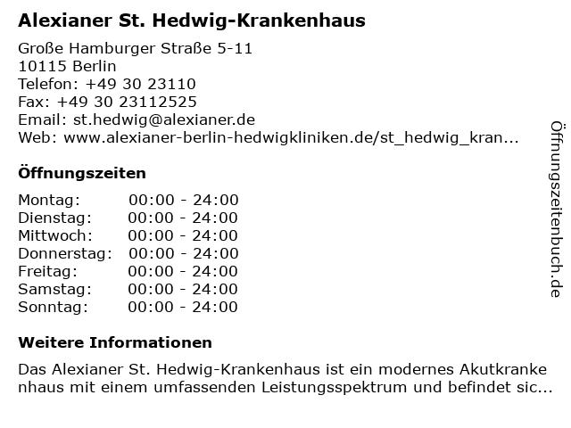 St. Hedwig Krankenhaus Berlin in Berlin: Adresse und Öffnungszeiten